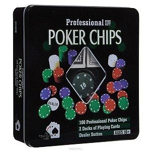 Kit de Poker com 100 fichas, 2 baralhos e 1 botão de dealer