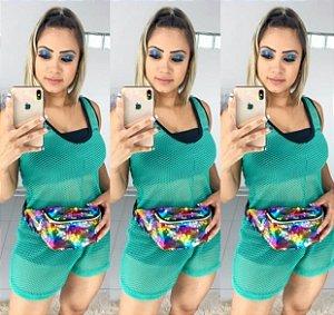 Conjunto Macaquinho em Tela + Top e Short Preto