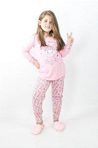 Pijama Menina Inverno Unicórnio Magic