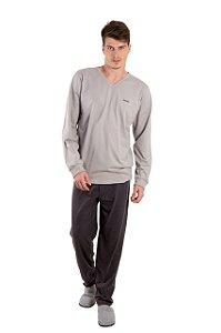 Pijama Masculino Cinza Claro com Cinza Escuro