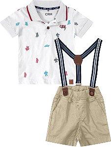 Jardineira Masculina Com Suspensório e Camiseta Polo Carinhoso Ref 85395