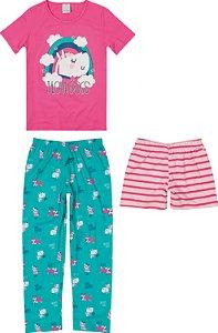 Pijama Feminino Com 3 Peças Malwee Ref 83329