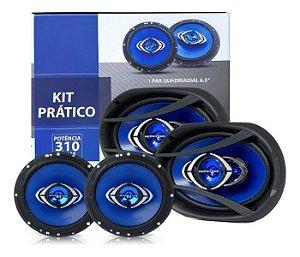 Kit Alto Falante Prático Hurricane 6 + 6x9 310w Rms Quadriaxial