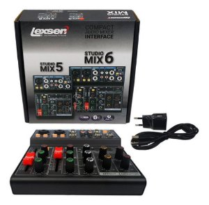 Mesa De Som 6 Canais Studio Mix 6 Lexsen Interface Usb/bt/48