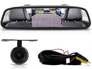 Kit Retrovisor Com Câmera De Ré Flex 2x1 Techone Lcd Preto
