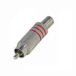 Kit Plug RCA 6mm Vermelho com 50 Peças
