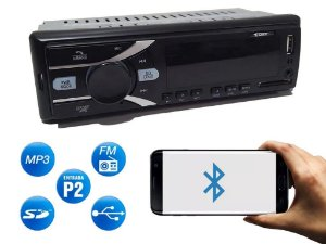 Rádio Automotivo Cinoy com Bluetooth FM MP3 USB SD AUX