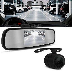 Espelho Retrovisor Com Câmera De Ré Flex 2x1 KX3 Lcd Preto