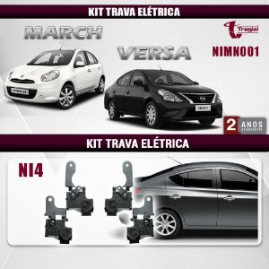 Kit Trava Elétrica Nissan March 4 Portas Tragial