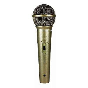 Microfone Com Fio Profissional Le Son Ls-58 Dinâmico Champanhe