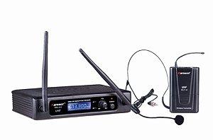 Microfone Headset Sem Fio Palestras Uhf Kru210h Preto
