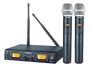 Microfone Duplo Sem Fios Staner Srw48d Supercardióide Preto