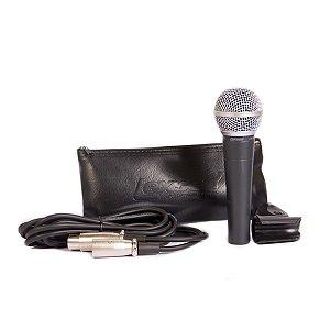 Microfone Com Fio Lexsen Lm-58 Dinâmico C/ Cabo E Bag