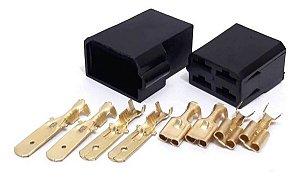 Kit Conector Automotivo 4 Vias Com Terminais Permak - 10 Pcs