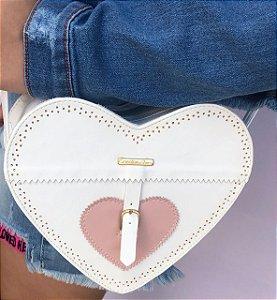 Bolsa Coração Branco com Rose