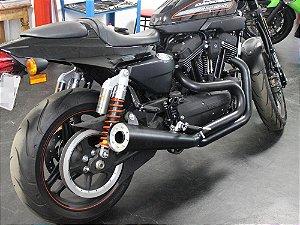 """Escapamento sportster 1200 2014 K21 4"""" cannon preto customer"""