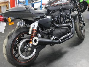 "Escapamento sportster 883R 2014 K21 4"" cannon preto customer"