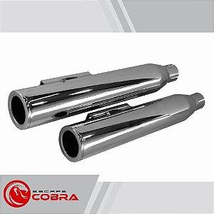 Ponteira dyna street bob 2008 a 2017 slashcut cromado cobra