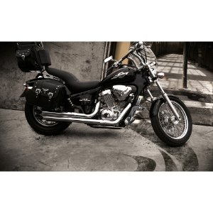 Escapamento custom shadow 600 reto 1998 a 2005 cromado cobra