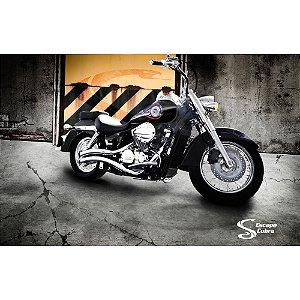 Escapamento custom shadow 750 JJ 2006 até 2007 cromado cobra