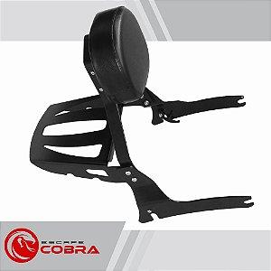 Sissy bar custom vulcan 900 de 2010 até 2015 preto cobra