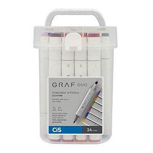 Marcador Artístico Graf Duo com 24 cores
