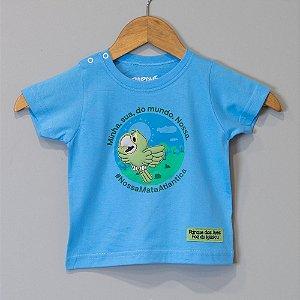 """Camiseta Bebê Azul-celeste Papagaio - """"Aves da Mata Atlântica"""""""