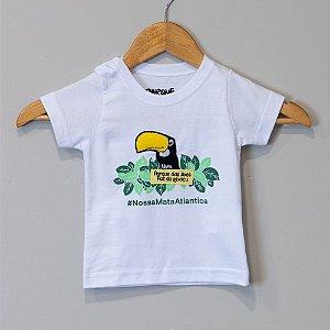 "Camiseta Bebê Branca Tucano - ""Aves da Mata Atlântica"""