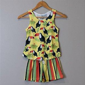 "Pijama Infantil Feminino Amarelo - ""Tucano"""
