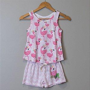 """Pijama Infantil Feminino Rosa - """"Flamingo"""""""