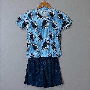 "Pijama Infantil Masculino Azul - ""Harpia"""
