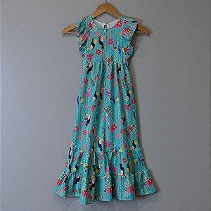 "Vestido Longo Infantil Tiffany - ""Aves da Mata Atlântica"""