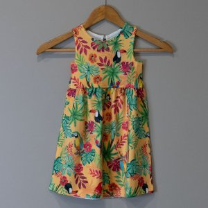 "Vestido Mid Infantil Amarelo - ""Aves da Mata Atlântica"""
