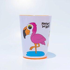 Copo alaranjado plástico - flamingo