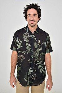 Camisa Manga Curta Botânico Preto