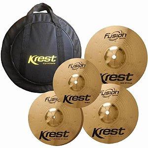 "Kit Pratos Krest Fusion Series, Md Hihat 14"", Md Crash 16"", Ride 20"", Splash 10"", Bag"
