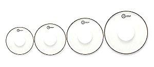 "Kit Peles Aquarian Classic Clear Power Dot 8"" /10"" /12"" /14"" + Brinde: TC14 Caixa"