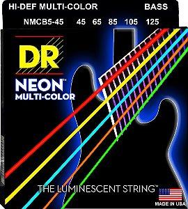 Encordoamento Hi-Definition NEON Multi-Color, Baixo 5 Cordas 45-125