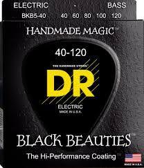 Encordoamento Black Beauties, Baixo 5 Cordas 40-120, Níquel, K3 Coated, Preta
