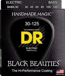 Encordoamento Black Beauties, Baixo 6 Cordas 30-125, Níquel, K3 Coated, Preta