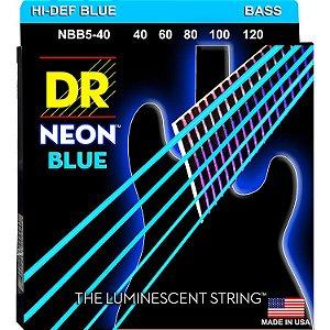 Encordoamento Hi-Definition NEON Blue, Baixo 5 Cordas 40-120, Níquel, K3 Coated, Azul