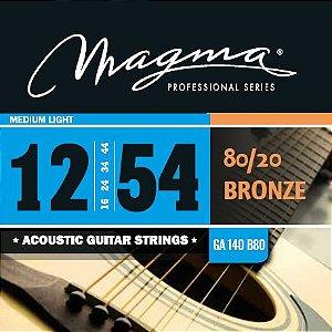Encordoamento Magma GA140B80 Para Violão Aço 12-54, Bronze 80/20