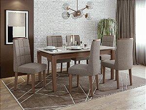 Sala de Jantar Áries 180 x 090 com 6 Cadeiras Nevada