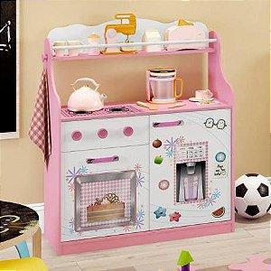 Cozinha Infantil 2 Portas 1 Gaveta com Rodízios - Rosa/Branco