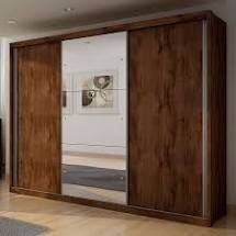 Guarda Roupa Casal com Espelho 3 Portas 4 Gavetas Paradizzo Plus Móveis Novo Horizonte