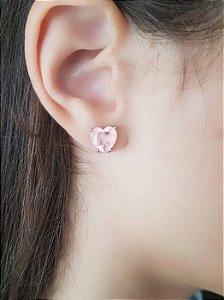 Brinco Coração Prateado Folheado a Ródio Branco zircônia rosa Selecta Joias