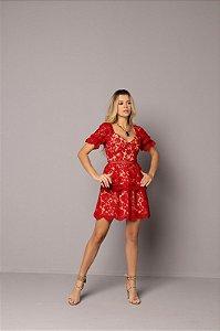 Vestido Renda Chloé Vermelho Curto