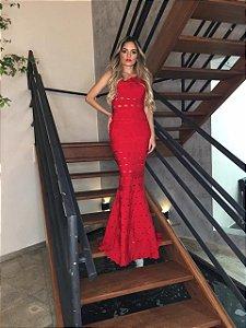 Vestido de Bandagem Jade Zamar Longo Vermelho