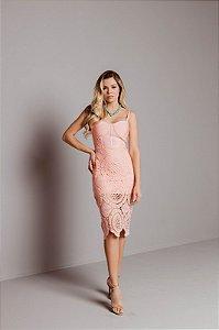 Vestido de bandagem Talita Midi Rosa