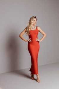 Vestido de Bandagem Melissa Longo Vermelho